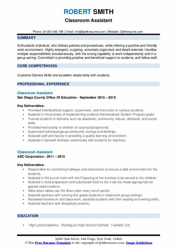 Classroom Assistant Resume example