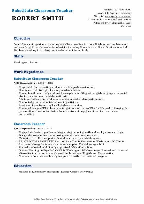 Substitute Classroom Teacher Resume Format
