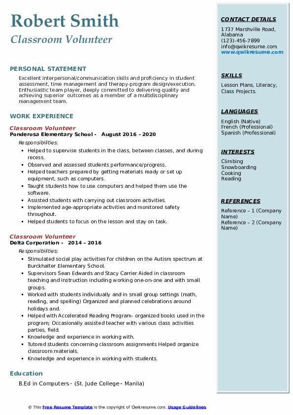 Volunteer elementary school resume esl problem solving writer for hire for phd