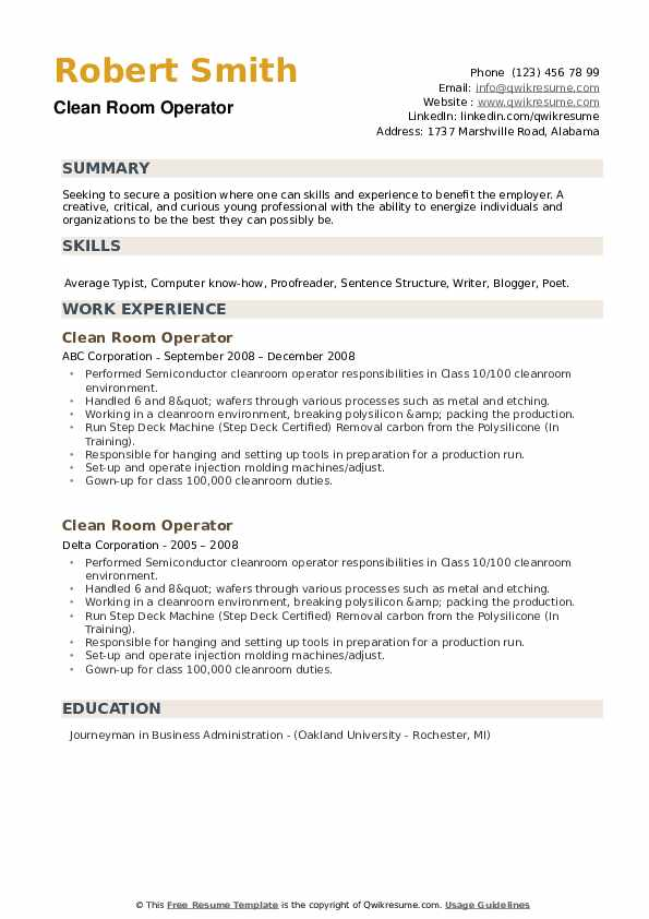 Clean Room Operator Resume example
