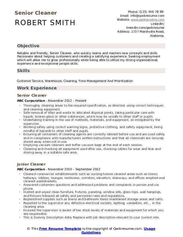 Senior Cleaner Resume Template