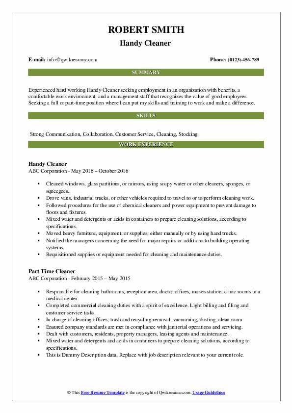 Handy Cleaner  Resume Format