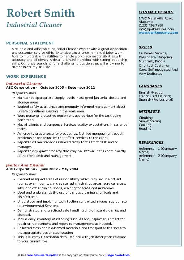 Cleaner Resume Samples Qwikresume