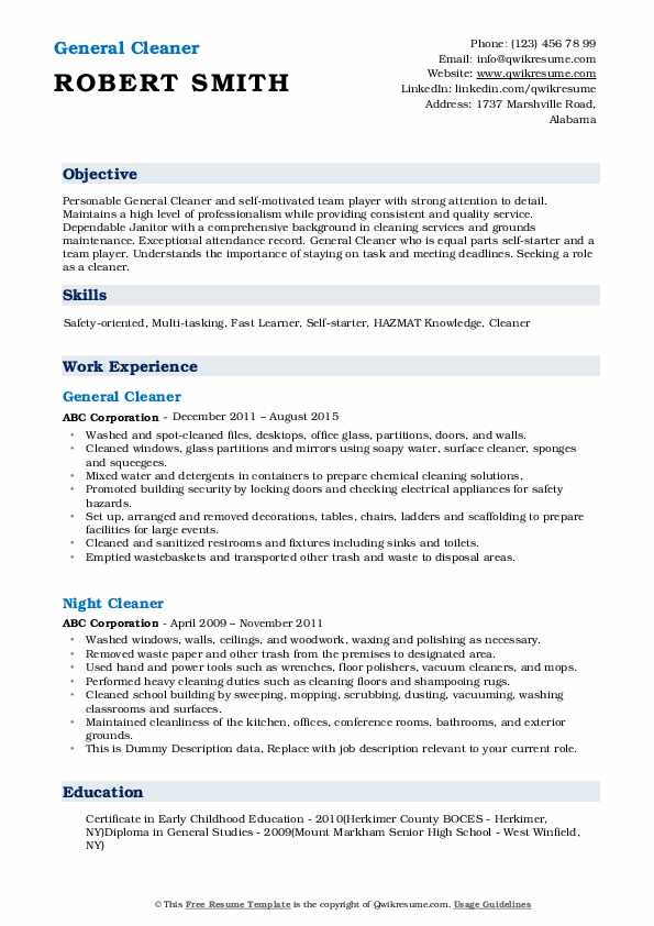 General Cleaner Resume Template