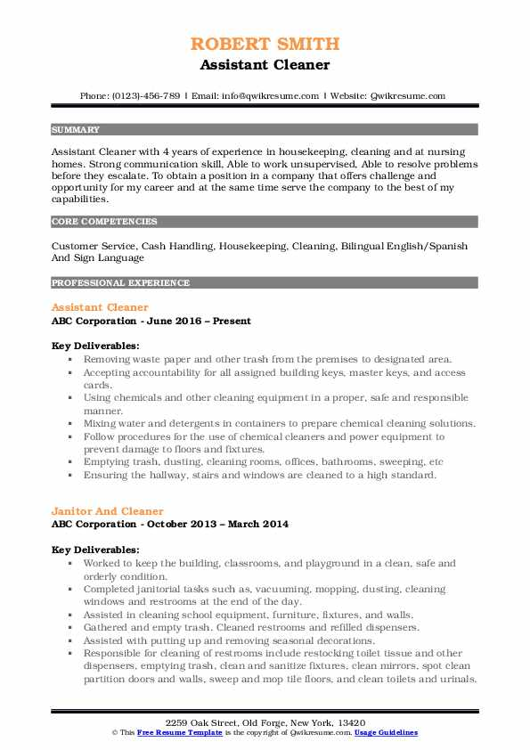 Assistant Cleaner Resume Template