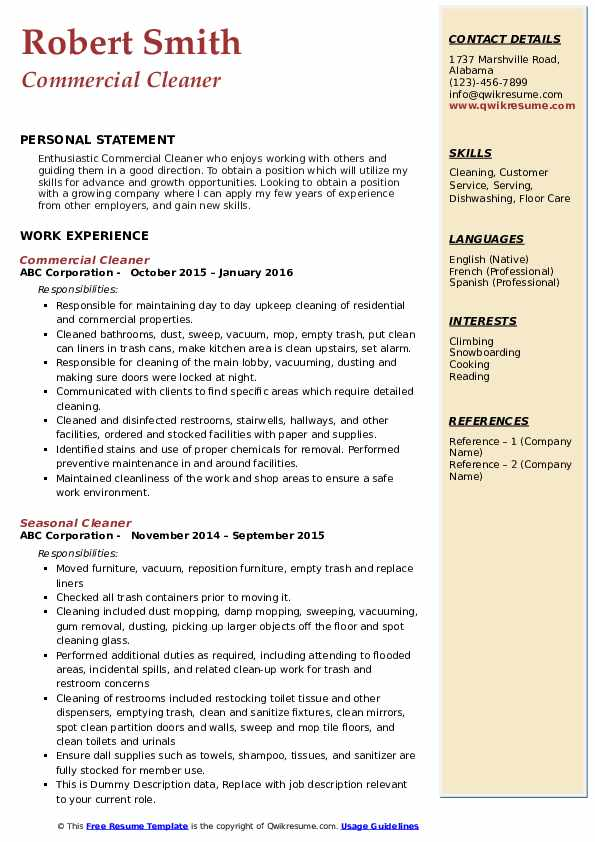 Commercial Cleaner Resume Example