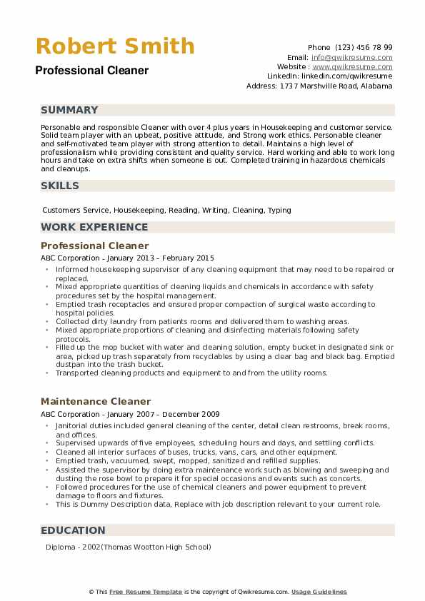 Professional Cleaner Resume Sample