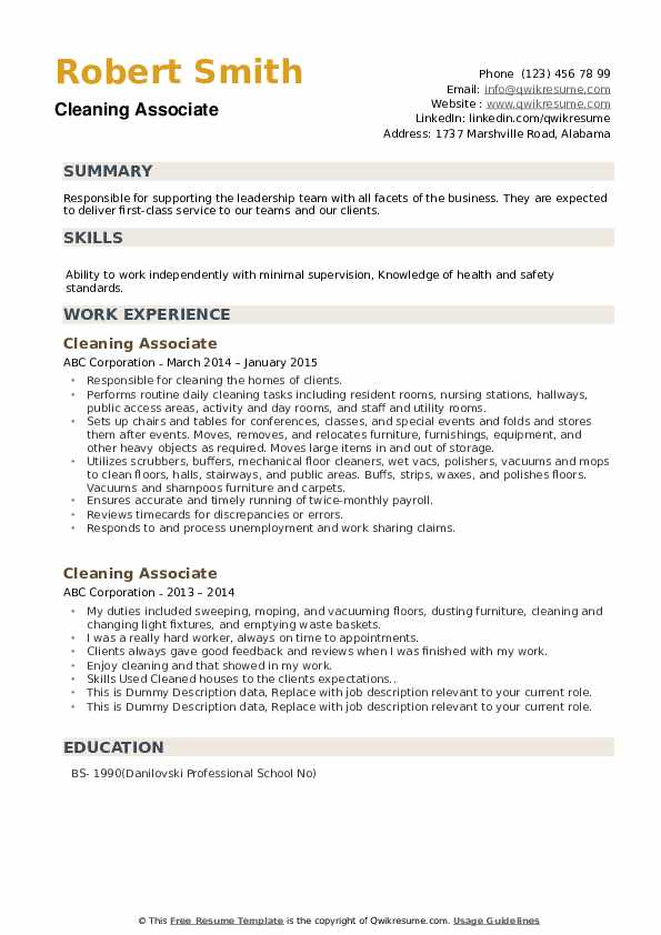 Cleaning Associate Resume example
