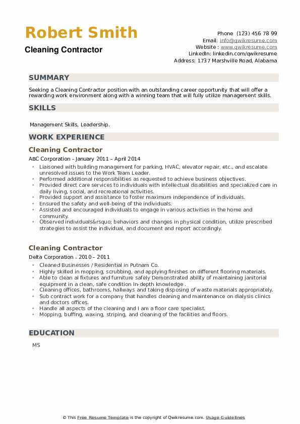 Cleaning Contractor Resume example