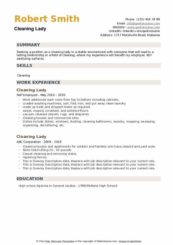 Cleaning Lady Resume example