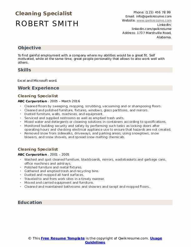 Cleaning Specialist Resume Sample