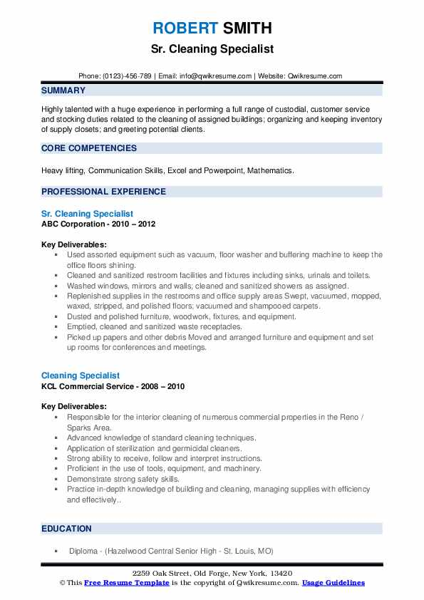 Sr. Cleaning Specialist Resume Format
