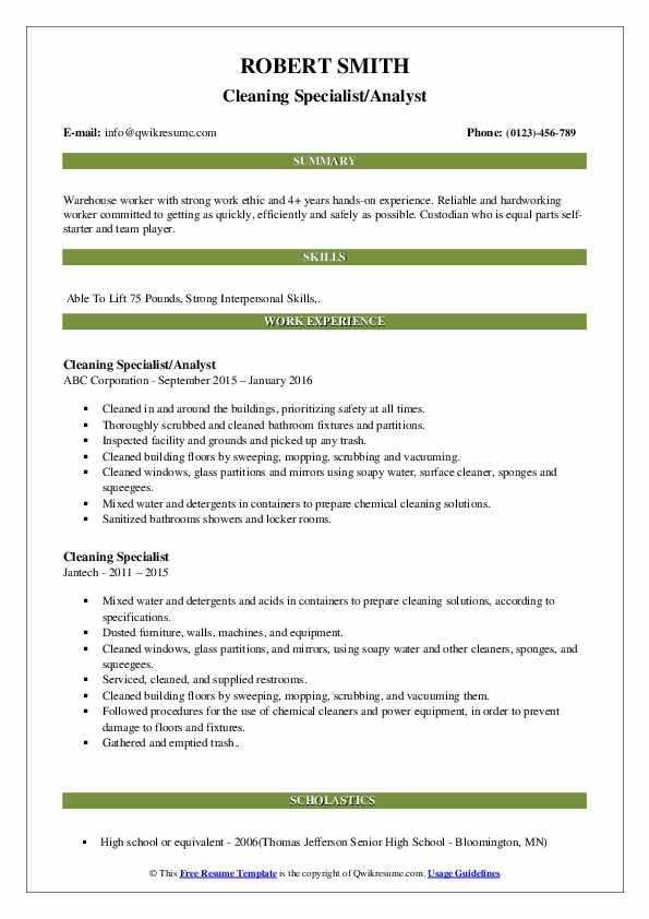 Cleaning Specialist/Analyst Resume Template