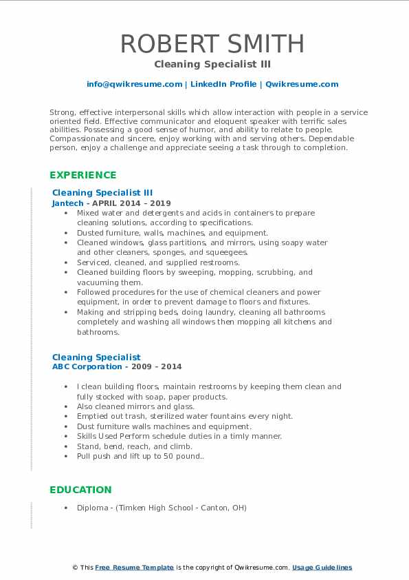 Cleaning Specialist III Resume Sample