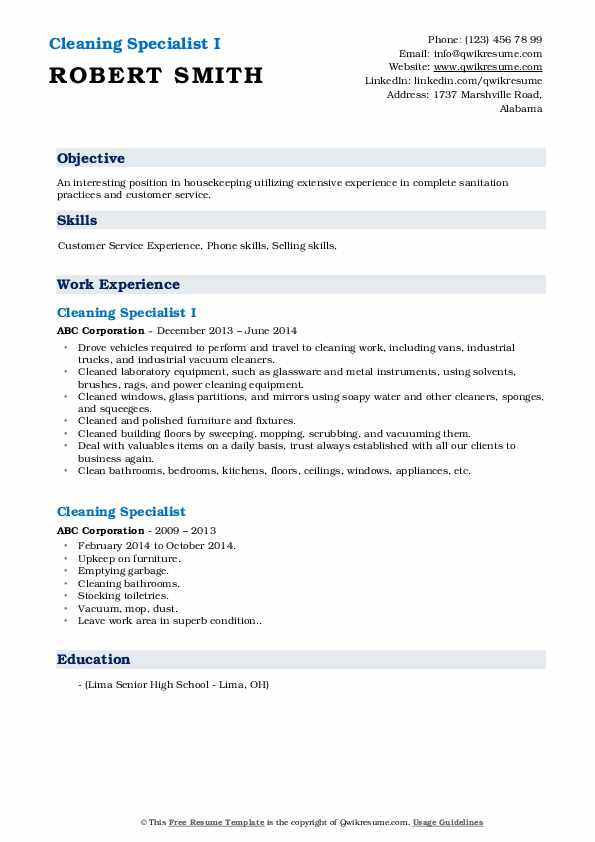 Cleaning Specialist I Resume Sample