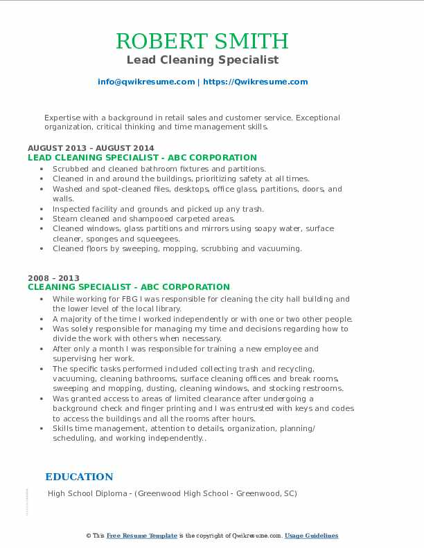 Lead Cleaning Specialist Resume Model