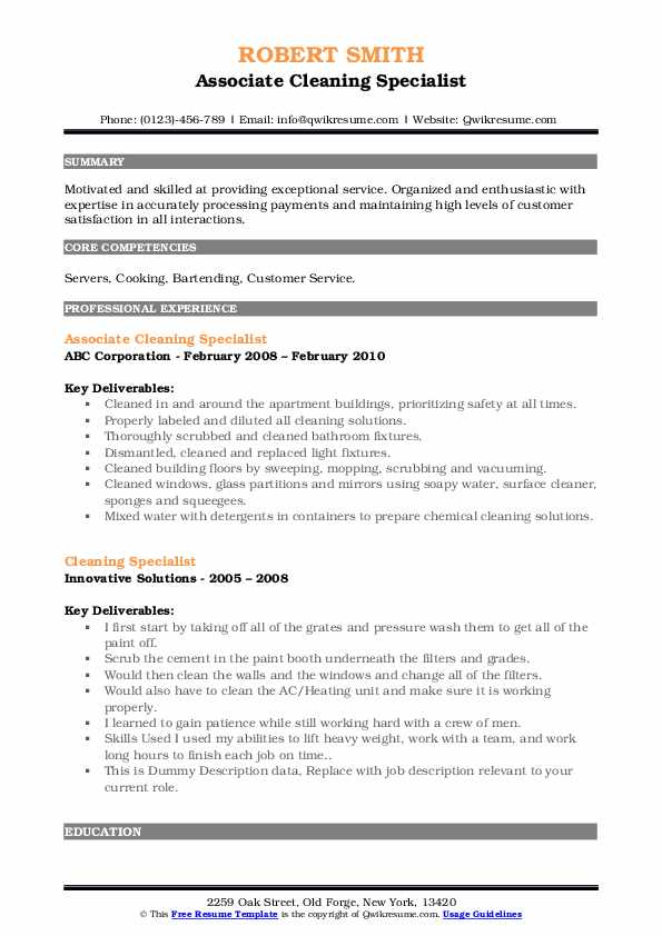 Associate Cleaning Specialist Resume Sample