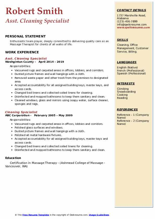 Asst. Cleaning Specialist Resume Sample