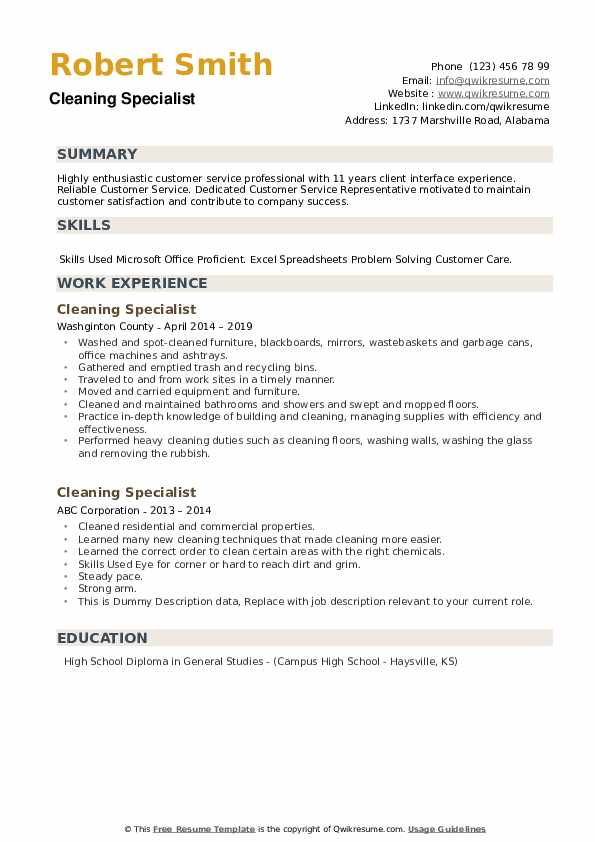 Cleaning Specialist Resume example
