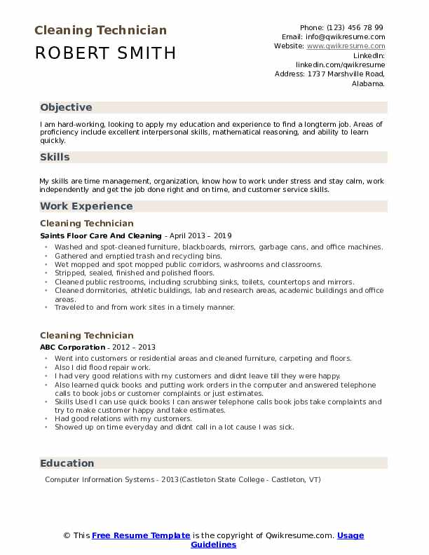 Cleaning Technician Resume Template
