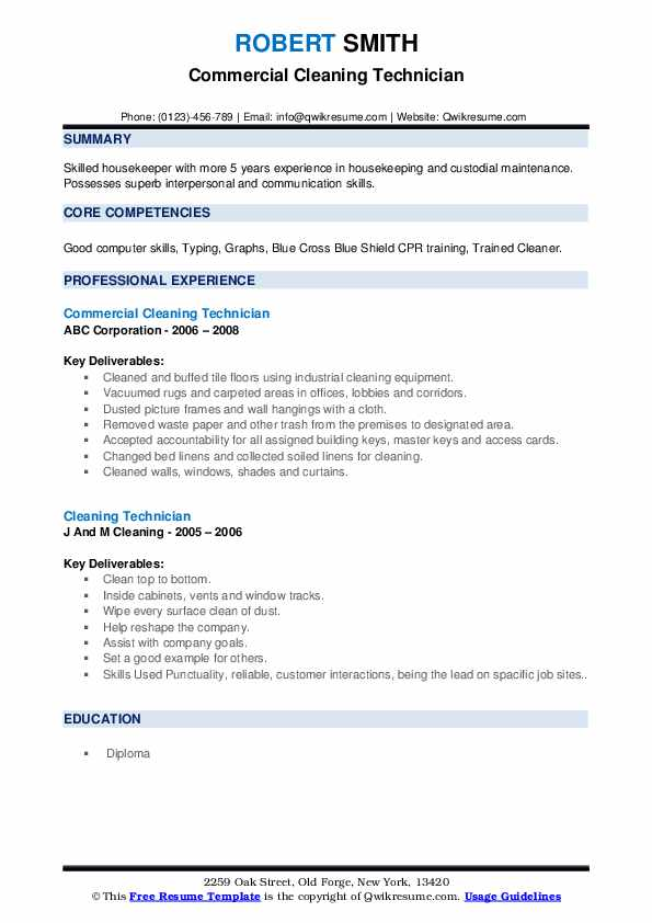 Commercial Cleaning Technician Resume Sample