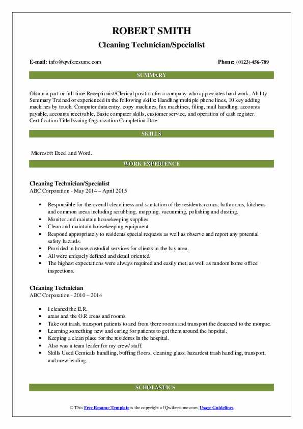 Cleaning Technician/Specialist Resume Model