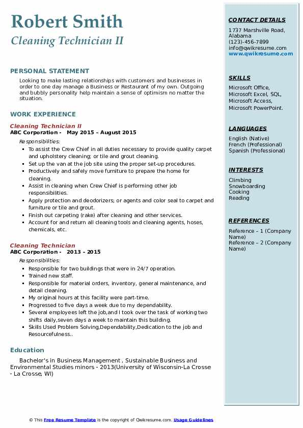 Cleaning Technician II Resume Example