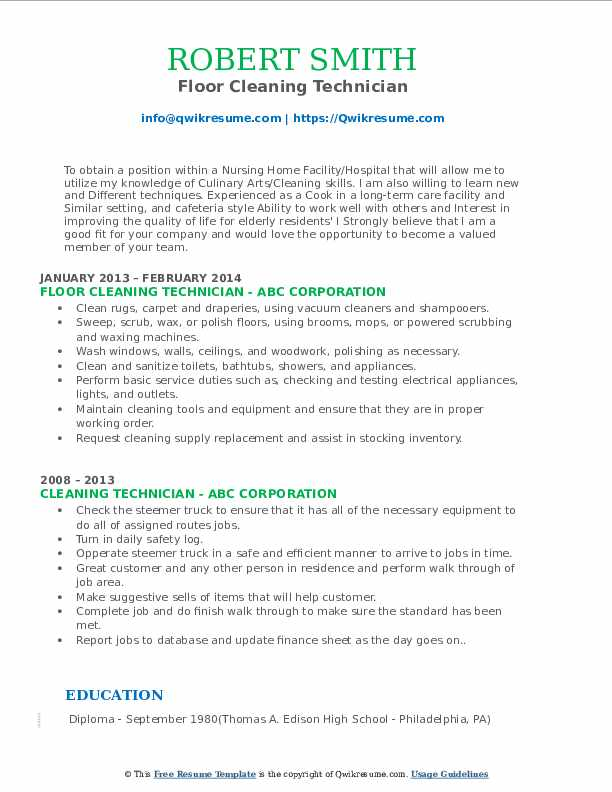 Floor Cleaning Technician Resume Example