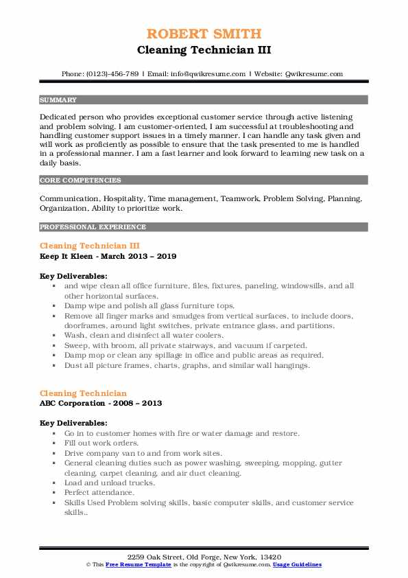 Cleaning Technician III Resume Sample