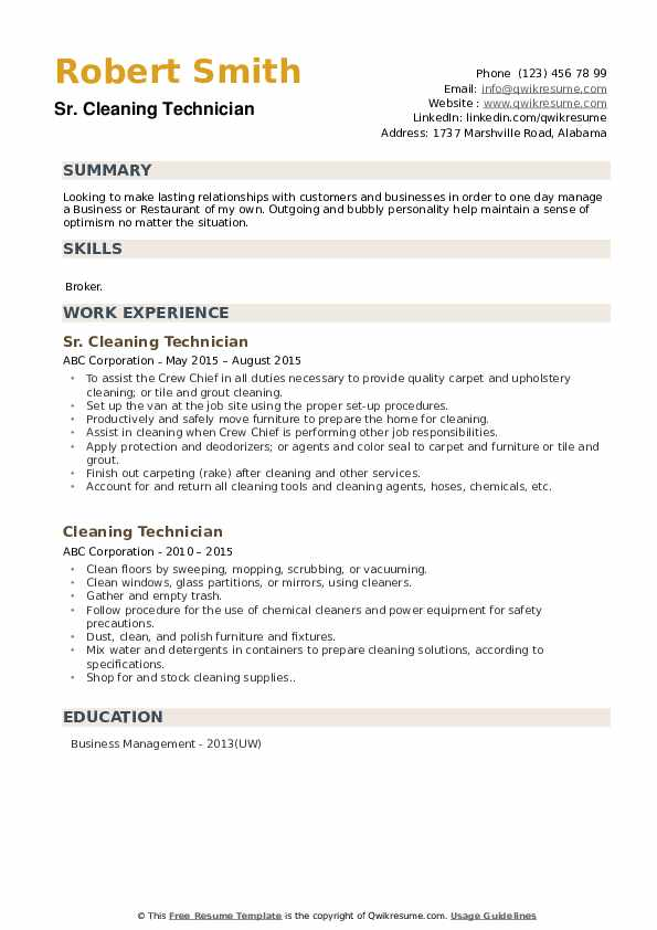 Sr. Cleaning Technician Resume Template