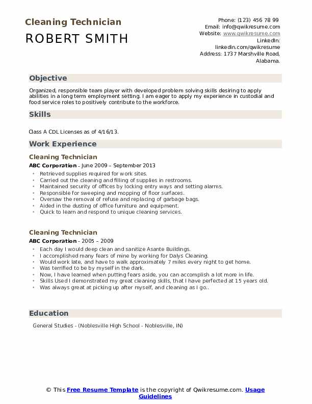 Cleaning Technician Resume Sample
