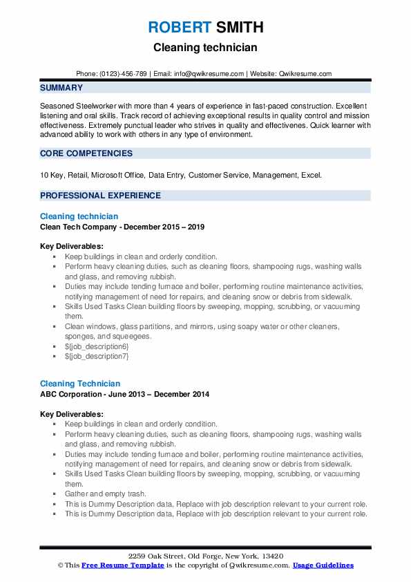 Cleaning Technician Resume example