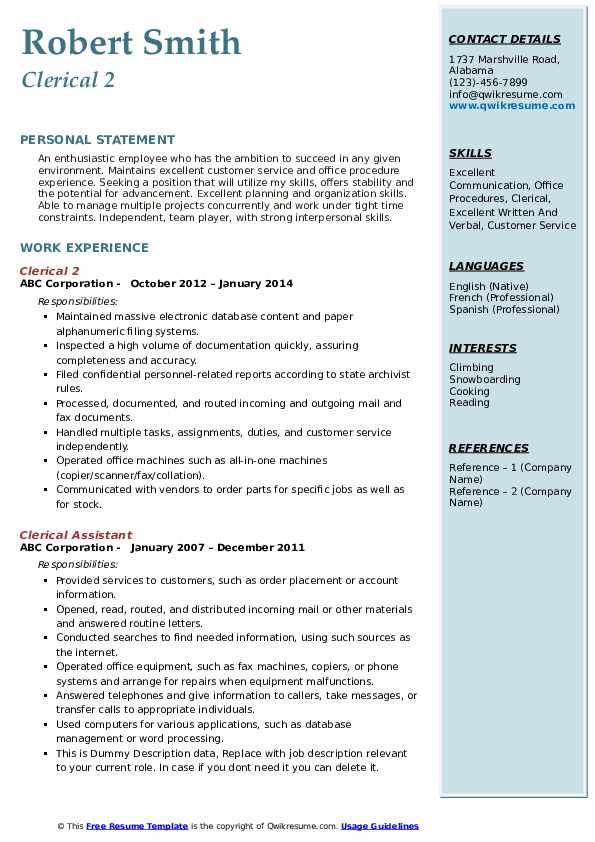 Clerical 2 Resume Sample