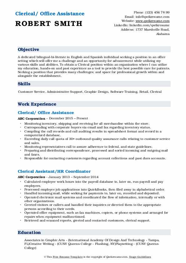 Clerical/ Office Assistance Resume Sample