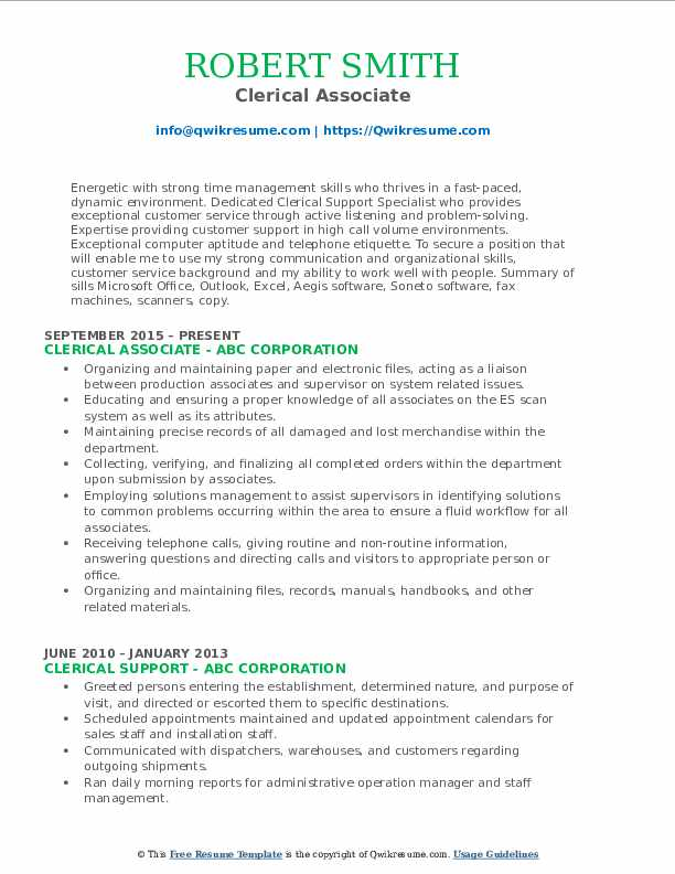 Clerical Associate Resume Format