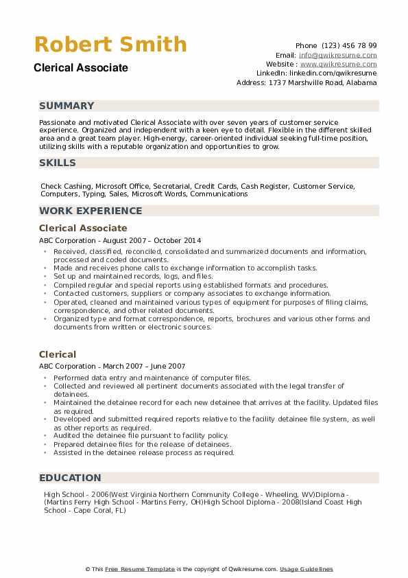 Clerical Resume Samples | QwikResume
