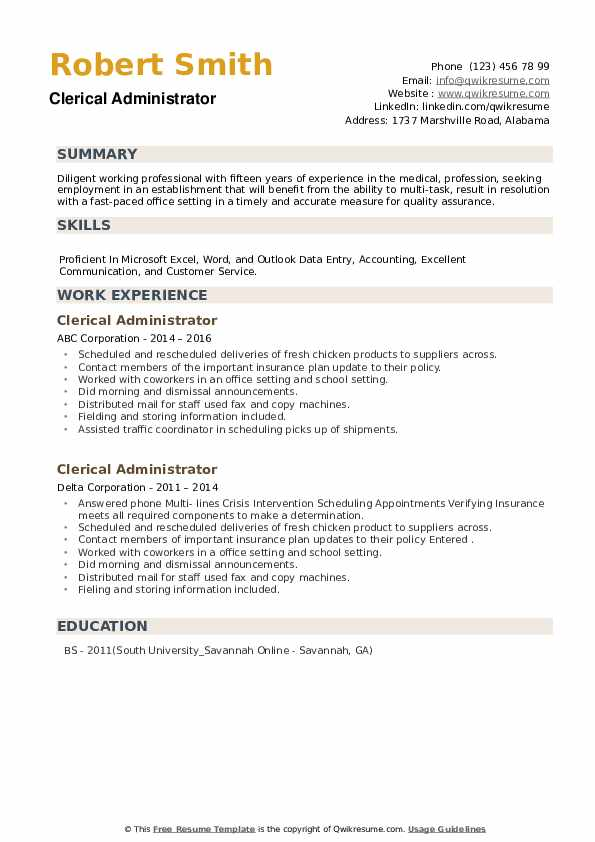 Clerical Administrator Resume example
