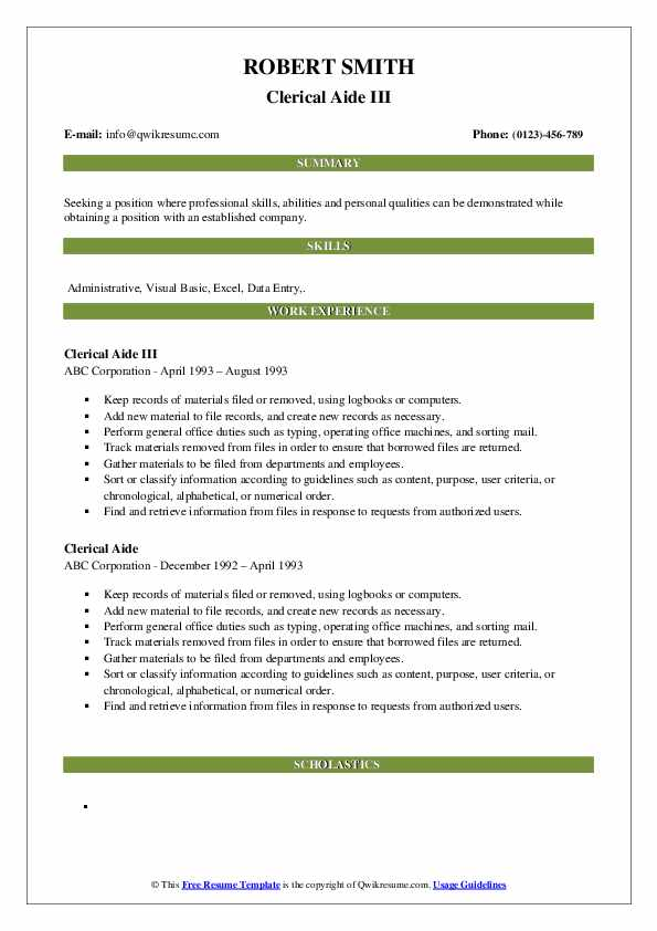Clerical Aide III Resume Example