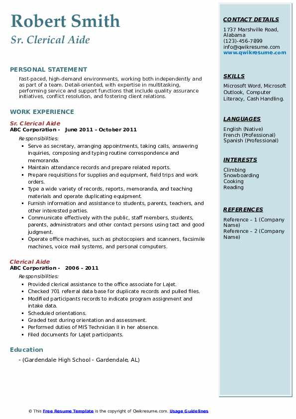 Sr. Clerical Aide Resume Example