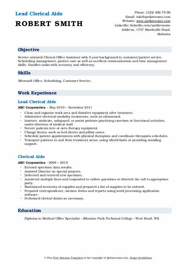 Lead Clerical Aide Resume Format