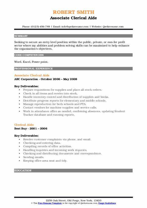 Associate Clerical Aide Resume Sample