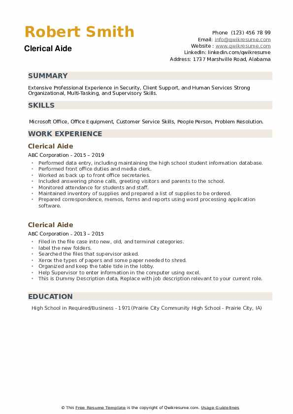 Clerical Aide Resume example