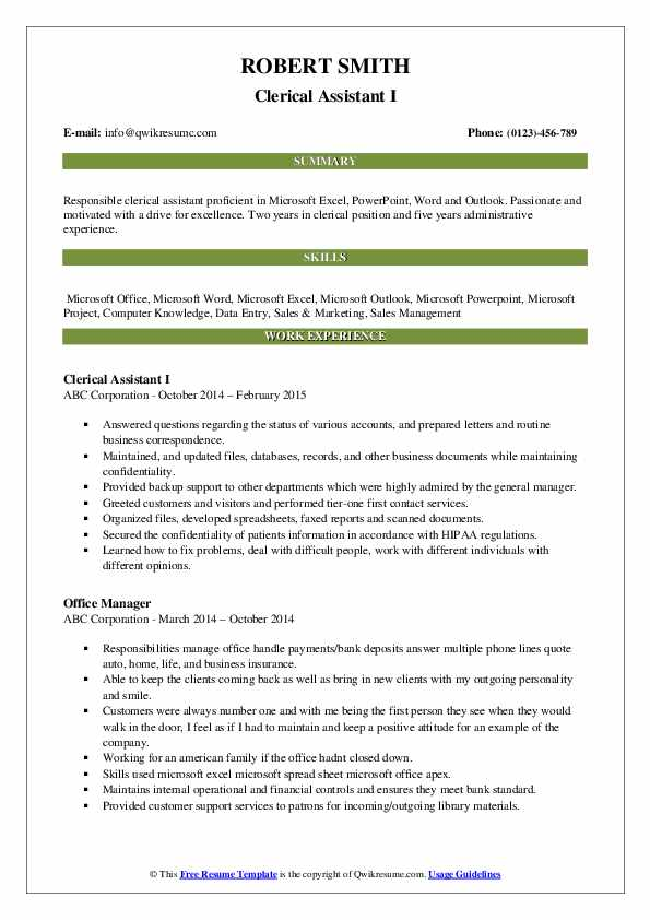Clerical Assistant I Resume Example