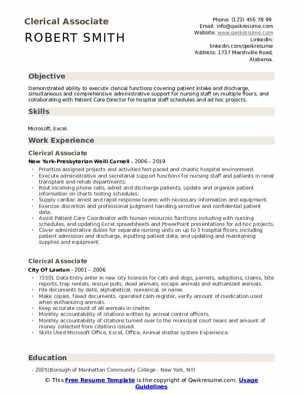 Clerical Associate Resume Model