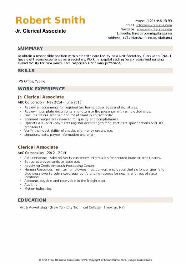 Jr. Clerical Associate Resume Template
