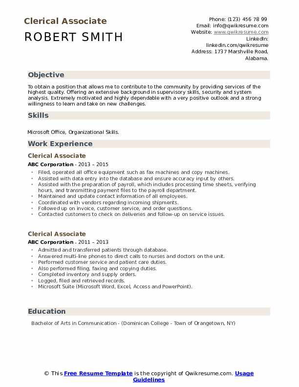 Clerical Associate Resume example