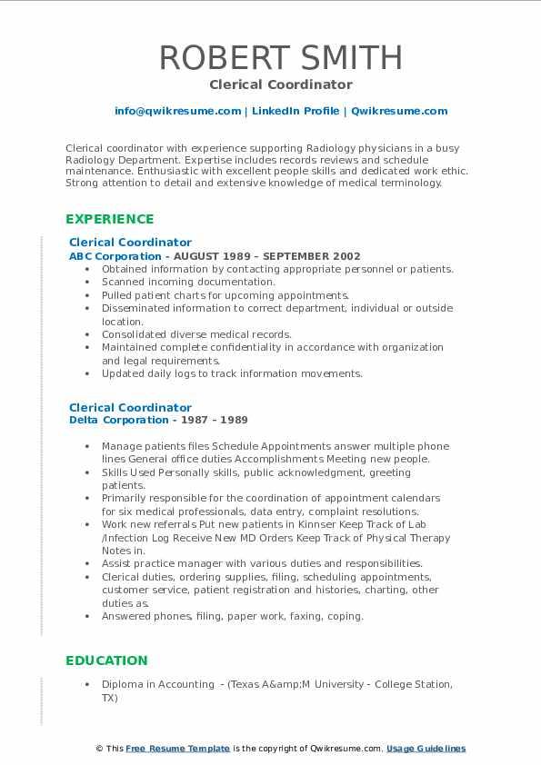 clerical coordinator resume samples  qwikresume