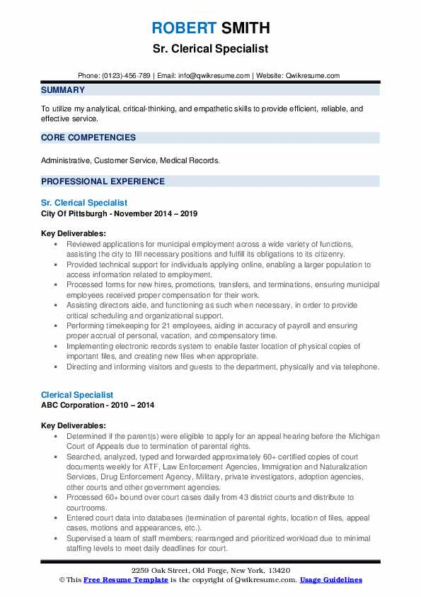 Sr. Clerical Specialist Resume Template