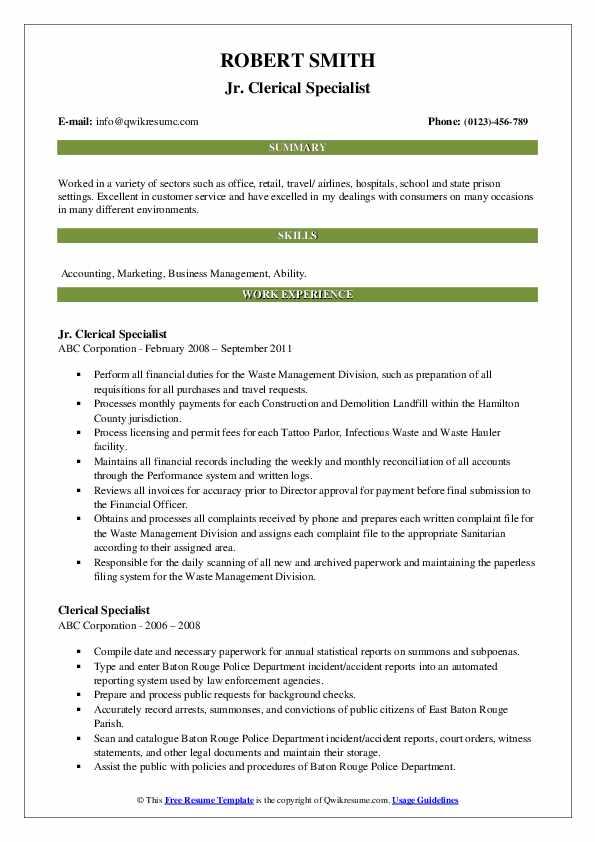 Jr. Clerical Specialist Resume Model