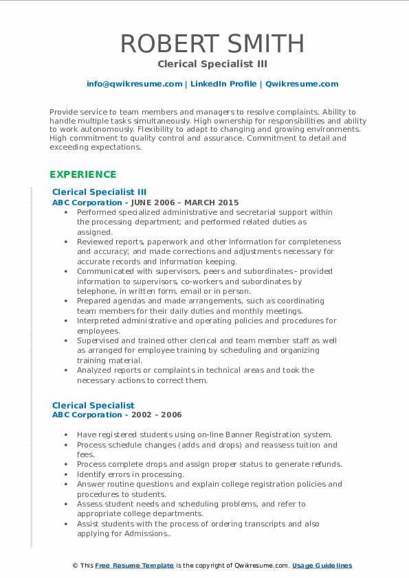 Clerical Specialist III Resume Model